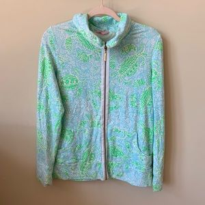 Lily Pulitzer ocean print mock neck zip up #146